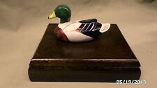 2238M Vtg TAIWAN Double Card Deck Wood Box Holder w/Mallard Duck on Top EXC