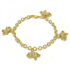 New 9 CT Gold filled Charm Bracelet, Elephant Design, with White Crystal  E16