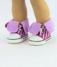 "Purple & Silver Striped High Top Sneakers fits American Girl Dolls & 18"" Dolls"