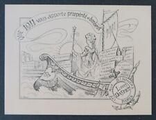 Carte de voeux LOUSI DASPET Gravure assignat autographe 1911 Vieux Papier PARIS