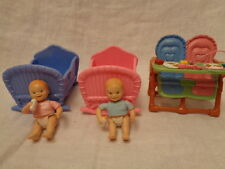 Fisher Price Loving Family twins highchair bed pink girl boy baby furniture lot