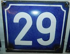 ANCIENNE PLAQUE EMAILLEE BOMBEE N° DE RUE 29 . 18x15 cm ENAMELLED STREET NUMBER
