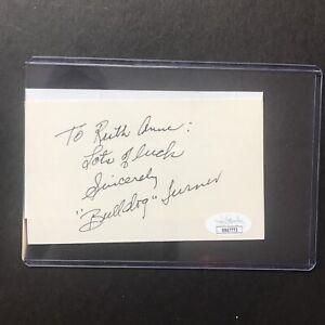 Bulldog Turner Signed 3x5 Index Card Chicago Bears HoF! JSA Certified Autograph!