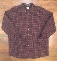 Men's Eddie Bauer Red & Green Plaid Shirt Button Long Sleeve Sz XLT