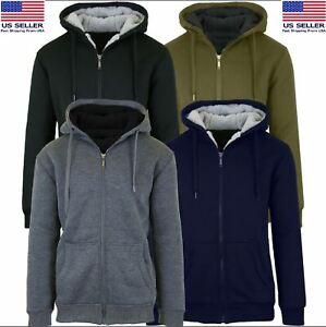 Men's Comfort Athletic Warm Soft Sherpa Lined Fleece ZipUp Sweater Jacket Hoodie