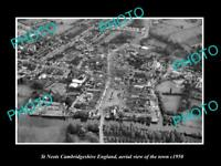 OLD LARGE HISTORIC PHOTO OF ST NEOTS ENGLAND, AERIAL VIEW OF THE TOWN c1950 4