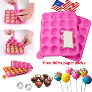 20 Cavities Silicone Lolly Cake Pop Mold Chocolate Cake Baking Mould w/ 20 Stick