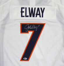 BRONCOS JOHN ELWAY AUTOGRAPHED WHITE NIKE TWILL JERSEY SIZE L BECKETT 118596