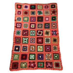 VTG Handmade Crocheted Afghan Blanket Colorful Throw Flowers Retro 42x64 Coral