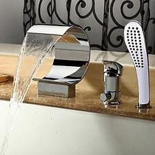 Brass Bathtub Waterfall Filler Faucet Tap Set Handheld Shower Widespread Chrome