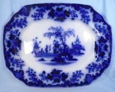 Scinde Flow Blue Platter Oriental Antique Magnificent J & G Alcock 1846 A Beauty