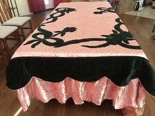 VINTAGE Velvet And Satin Quilted Bed Spread, Sham, Curtain Panel Ensemble