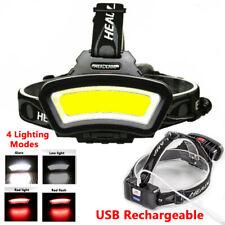LED Headlamp USB Rechargeable Flashlight Head Band Light Waterproof Outdoor Lamp