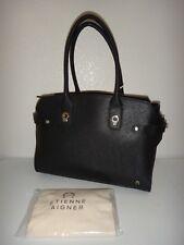 ETIENNE AIGNER Women Dylan Zip Tote Satchel Bag Black Saffiano Leather Gold Logo