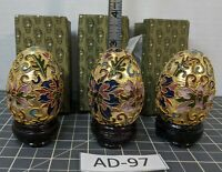 ** (3) Cloisonne Chinese Eggs and Stands AD-97