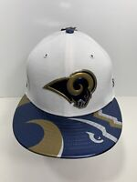 """New Era 59FIFTY White/Blue Los Angeles Rams 7 5/8"""" Fitted Flat Bill Cap, NEW!"""
