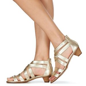 CLARKS LADIES MENA SILK CHAMPAGNE LEATHER SANDALS VARIOUS SIZES