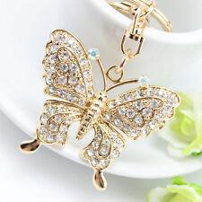 Rhinestone Butterfly Keychain Car Women Pendant Charm Keyring Handbag Jewelry