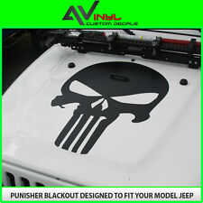 Hood Decal Punisher Black Out w/install kit Jeep Wrangler JK, TJ, YJ Universal