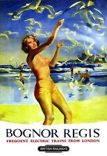 Art Ad Bognor Regis British Railways  Rail Travel  Poster Print