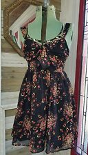 Candies Black Floral Red Pink Twist Dress  Sleeveless Cutout Open Back Sz 9 NEW
