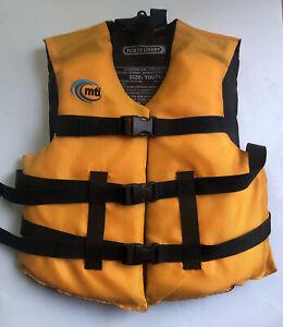 MTI Youth Livery YELLOW Orange Life Jacket Vest Unisex sz 50-90 lbs