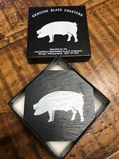New listing Set Of 5 Genuine Slate Coasters No Slide Cork Bottoms Pig Stencil