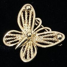 Vintage Butterfly Gold Tone Brooch Pin Rope Detailing Signed Napier