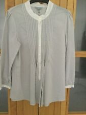 JIGSAW LONG SLEEVE WOMENS SHIRT BNWT SIze 14 GREY/ WHITE PINSTRIPE