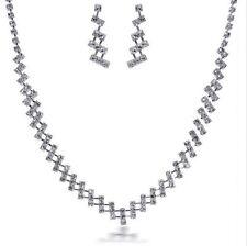 Weddings Bridal Jewellery Set Silver & White Rhinestones Earrings Necklace S725