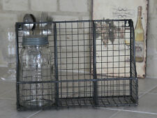 Industrial Style Wire Wall Shelf with 3 Compartments, Deep Grey