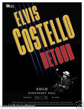 """Elvis Costello """"Detour"""" 2016 Salt Lake Concert Tour Poster - New Wave,Punk Rock"""