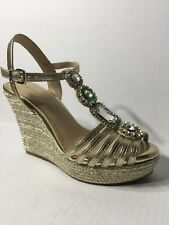 5d1372fdebd8 Antonio Melani Ritah Jeweled T-Strap Wedge Sandals Size 5.5