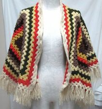 Vintage Afghan Boho Crochet Poncho Cape One Size Small Medium Large S M L