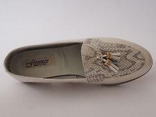 FLORENCE Damen Schuhe Slipper 36 Leder Silber Grau Ballerinas NEU