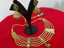 Bridal Fashion Jewelry Necklace Set Indian Ethnic Gold Plated Bollywood