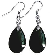 Teardrop Crystal Glass Beads Drop Dangle Earrings Earwires Silver Tone Ear Hooks