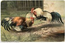 ARTIST SIGNED. MÜLLER. COMBAT DE COQS. FIGHTING FOWLS. ROOSTER
