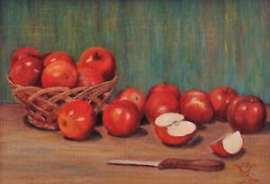 Signed & Framed Miniature Still Life Oil Painting on Board of Apples