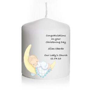 Personalised Christening Confirmation Baptism Candle Keepsake Boy Girl Gift