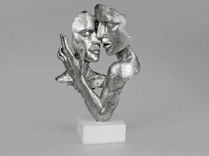 Formano Skulptur Büste Liebe Paar Sockel Kunststein 729255 Objekt Deko Silber