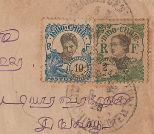 Beautiful Indochina (Indochine, Vietnam) stamps on envelope 1926