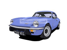TRIUMPH GT6 CAR ART PRINT (SIZE A4). CHOOSE YOUR COLOUR, ADD YOUR REG PLATE