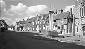 B/W Negative Midhurst Sussex Street Scene & Memorial 1940s + Copyright DB147