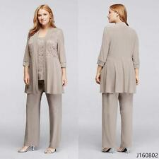 Chiffon Mother Of The Bride Outfit Trouser Suits Brides 3/4 Sleeve Evening Gown
