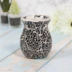 Black Glass Mosaic Oil Wax Melt Burner Tea Light Holder