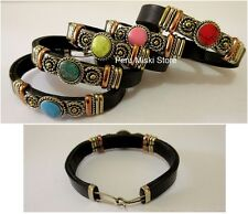 14 Leather Bracelets, Cuffs, Handcrafted with Semi Precious Stones