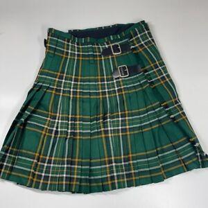J. Higgings LTD 100% Pure Wool Green Plaid Scottish Kilt Buckles