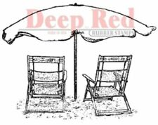 Deep Red Rubber Cling Stamp Vintage Retro Beach Chairs Vacation Destination