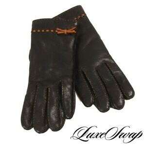 El Caballo Made in Spain Black Nappa Leather Brown Topstitched Bow Gloves 7 NR